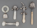 Silver Smalls:Other , Five Silver, Mother-of-Pearl and Bone Teethers and Rattles, late19th/early 20th century. Marks: (various marks). 5-1/4 inch...(Total: 5 Items)