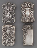 Silver Smalls:Match Safes, Four American Silver Match Safes, 20th century. Marks: (variousmarks). 2-3/4 inches high (7.0 cm). 3.73 troy ounces. ... (Total: 4Items)