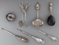Silver Smalls:Other , Seven Silver Sewing and Table Items, late 19th/early 20th century.Marks: (various marks) . 7-7/8 inches long (20.0 cm) (lon...(Total: 7 Items)