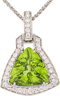 Estate Jewelry:Pendants and Lockets, Peridot, Diamond, White Gold Pendant-Necklace. ...