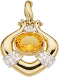 Estate Jewelry:Pendants and Lockets, Citrine, Diamond, Gold Pendant. ...