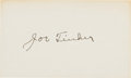 Baseball Collectibles:Others, 1940's Joe Tinker Signed Index Card. ...