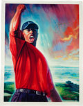 """Autographs:Others, 2000's Tiger Woods Signed """"Tiger Roars"""" Canvas. ..."""