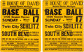 Baseball Collectibles:Others, 1936 House of David Broadsides Lot of 2....