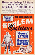 Basketball Collectibles:Others, 1950's Harlem Magicians Broadside....