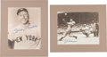 Baseball Collectibles:Photos, 1990's Joe DiMaggio and Mickey Mantle Signed Oversized Photographs(2)....