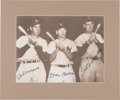 Baseball Collectibles:Photos, 1990's Joe DiMaggio, Mickey Mantle and Ted Williams Multi-SignedOversized Photograph....