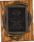 "Baseball Collectibles:Others, 1987 Gary Carter ""Good Guy Award"" Presentational Plaque from TheGary Carter Collection.. ..."