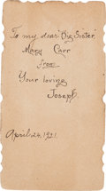 Football Collectibles:Others, 1921 Joe Carr Prayer Card from The Joe Carr Find. ...