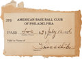 Baseball Collectibles:Others, 1926 Thomas Shibe Signed Shibe Park Pass from The Joe Carr Find....