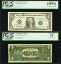 Error Notes:Ink Smears, Fr. 1908-F $1 1974 Federal Reserve Note. PCGS Very Fine 20;. Fr.1918-A $1 1993 Federal Reserve Note. PCGS Gem New 65PPQ.. ...(Total: 2 notes)