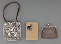 Silver Smalls:Cigarette Cases, Three Silver Items: Coin Purse & Cigarette Cases, late19th/20th century. Marks: (various marks). 3-1/4 inches high x3-1/8 ... (Total: 3 Items)