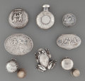 Silver Smalls:Other , Eight Silver Miniatures: Boxes, Thimble Cases,Flask, Frog, 19th/20th century. M... (Total: 8 Items)