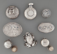 Eight Silver Miniatures: Boxes, Thimble Cases, <