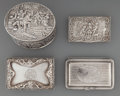 Silver Smalls:Other , Four Silver Articles: Dutch Oval Box, German Cigarette Case,English Box, Coin Purse, 19th/20th century. Marks: (various mar...(Total: 5 Items)