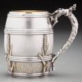 Silver Holloware, American:Cups, An American Partial Gilt Silver Cup with Botanical Motifs, late19th century. Marks: STERLING, D. 4-1/2 inches high (11....