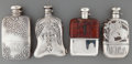 Silver Holloware, American:Flasks, Four Silver and Glass Flasks, late 19th/early 20th century. Marks:(various). 5-5/8 inches high x 3 inches wide (14.3 x 7.6 ...(Total: 4 Items)
