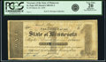 Obsoletes By State:Minnesota, St. Paul, MN - Treasurer of the State of Minnesota $1 Mar. 20, 1858Hewitt C400-D1-2. PCGS Very Fine 20 Apparent.. ...