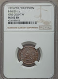 Civil War Tokens, 1863 TOKEN One Country, F-98/291 A, MS62 Brown NGC. NGC Census:(2/6). ...
