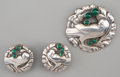 Silver Smalls, A Three-Piece Georg Jensen Silver and Green Chrysoprase JewelrySuite with Bird Motif, Design by Kristian Moehl-Hansen, Cope...(Total: 3 Items)