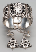 Silver Smalls:Other , A Three-Piece Margot de Taxco Enameled Silver Jewelry Suite, Taxco,Mexico, circa 1948-1978. Marks: MARGOT DE TAXCO, 925, ...(Total: 3 Items)