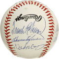 Autographs:Baseballs, 500 Home Run Club Baseball Signed by 9. Nine members of baseball'sexclusive 500 Home Run Club, including Hank Aaron, Erni...