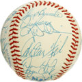 Autographs:Baseballs, 1987 Chicago White Sox Team Signed Baseball. Hall of Famer CarltonFisk is joined here by the signatures of 25 others from ...