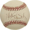 Autographs:Baseballs, Mike Schmidt Single Signed Baseball. Michael Jack Schmidt was oneof the most-feared players of his time, wielding one of t...