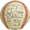 Autographs:Baseballs, 1987 Toronto Blue Jays Team Signed Baseball. Star-studdedcollection of 26 signatures from the 1987 Toronto Blue Jayscomes...