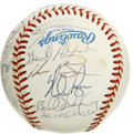 Autographs:Baseballs, 1991 Texas Rangers Team Signed Baseball. The epic fireballer NolanRyan came to the Texas Rangers to close out his career, ...