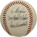 Autographs:Baseballs, Lefty Gomez and Don Drysdale Single Signed Baseballs Lot of 2. Thispair of single signed baseballs has each been personaliz...