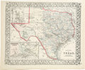 """Western Expansion, 1872 Mitchell's """"County Map of Texas""""..."""