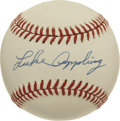"Autographs:Baseballs, Luke Appling Single Signed Baseball. ""Old Aches and Pains"" has hereprovided us with an example of his Hall of Fame signatu..."
