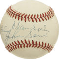 Autographs:Baseballs, Warren Spahn and Johnny Sain Dual-Signed Baseball. ONL (White) orbhas been signed by the 1948 Boston Braves pitching tande...