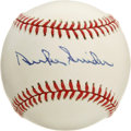 Autographs:Baseballs, Duke Snider Single Signed Baseball. The Hall of Fame centerfielderpresents a 10/10 blue ink signature on the sweet spot of...