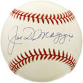 Autographs:Baseballs, Joe DiMaggio Single Signed Baseball. Stunning example of the YankeeClipper's autograph resides on the sweet spot of the cl...