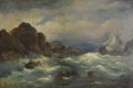 Impressionism & Modernism, WILLIAM HOSCINSON (American, Late Nineteenth Century). ShipwreckAgainst a Rocky Coast, 1893. Oil on original unlined ca...