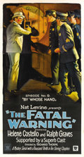 """Movie Posters:Mystery, The Fatal Warning (Mascot, 1929). Three Sheet (41"""" X 81""""). Episode 9 -- """"By Whose Hand."""" ..."""