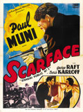 "Movie Posters:Crime, Scarface (Les Films Georges Muller, R-1950). French Grande (47"" X63""). ..."