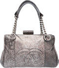 "Luxury Accessories:Bags, Chanel Metallic Silver Python Tote Bag with Silver Hardware.Excellent Condition. 12"" Width x 8"" Height x 7""Depth. ..."