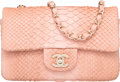 "Luxury Accessories:Bags, Chanel Light Pink Python Small Flap Bag . Very Good to ExcellentCondition. 8"" Width x 5"" Height x 2.5"" Depth. ..."