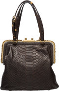 "Luxury Accessories:Bags, Bottega Veneta Brown Python Tote Bag. Very Good Condition.10"" Width x 9"" Height x 3"" Depth. ..."