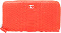 """Luxury Accessories:Bags, Chanel Red Python Zip Wallet with Silver Hardware. PristineCondition. 7.5"""" Width x 4"""" Height x .5"""" Depth. ..."""