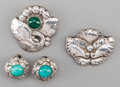 Silver Smalls, A Group of Four Georg Jensen Silver and Hardstone Jewelry Items,Copenhagen, Denmark, circa 1933-1945 & post-1945. Marks to ...(Total: 4 Items)