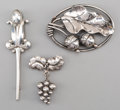 Silver Smalls:Other , Two Georg Jensen Silver Brooches and a Stickpin, Copenhagen,Denmark, post-1945. Marks: GEORG JENSEN INC., U.S.A., HAND WR...(Total: 3 Items)