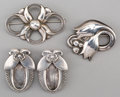 Silver Smalls:Other , Two Georg Jensen Silver Brooches and a Pair of Sweater Clips,Copenhagen, Denmark, post-1945. Marks: GEORG JENSEN, 925 S, ...(Total: 4 Items)