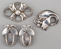 Two Georg Jensen Silver Brooches and a Pair of Sweater Clips, Copenhagen, Denmark, post-1945 Marks: GEORG JENSE