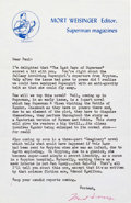 Memorabilia:Comic-Related, DC Fan Reply Letter from Mort Weisinger (DC, c. 1962)....