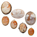 Estate Jewelry:Cameos, Shell Cameo, Gold, Silver, Silver Vermeil, Base Metal Jewelry. ...(Total: 7 Items)