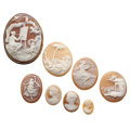 Estate Jewelry:Cameos, Shell Cameo, Gold Jewelry. ... (Total: 8 Items)